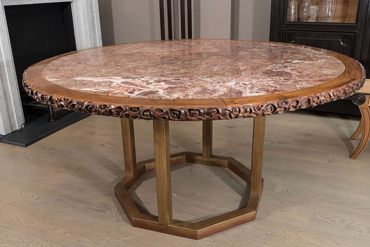 Chinese hongmu round table with inset marble top on for Th 37px60b table top stand