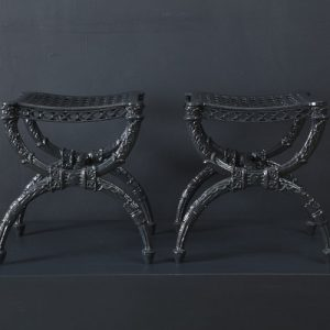 A Pair of Charles X Cast Iron Curule Form Stools