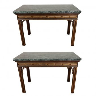 Pair of Chinoiserie Faux Rosewood Painted Console Tables with Verde Antico Tops