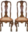 Pair of Italian Rococo Walnut Side Chairs