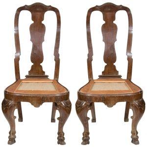 Pair of Italian Rococo Walnut Side Chairs