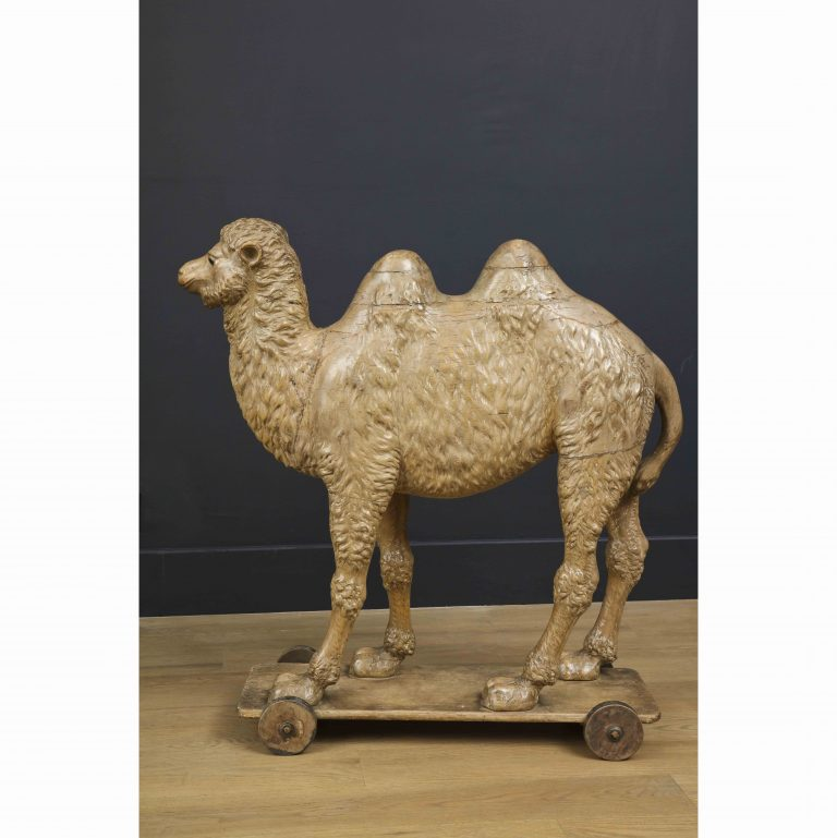 Large-Scale Carved Wooden Sculpture of a Bactrian Camel, 19th Century