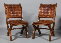 A Pair of English Oak Folding Chairs in the style of A.W.N Pugin, Circa 1860