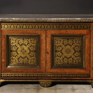 A Fantastic Regency Brass-Inlaid Pollard Oak and Ebony Side Cabinet attributed to George Bullock, c. 1820