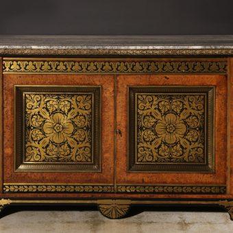 A Fantastic Regency Brass-Inlaid Pollard Oak and Ebony Side Cabinet attributed to George Bullock, c. 1820