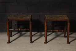 A Rare Pair of Ash Rush Seated Stools, Early 19th Century