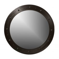 A 45″ Circular Steel Mirror with Bosses in Statuary Bronze Finish