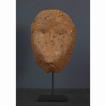 A Hand Hammered Oxidized Iron Bambara Mask, Mali