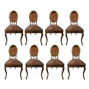 A Set of Eight French Leather and Oak Art Nouveau Chairs