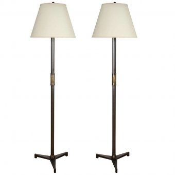 Pair of Steel Floor Lamps in Pewter Finish