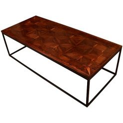 A North European 18th Century Parquetry Top Low Table on a Contemporary Patinated Steel Base
