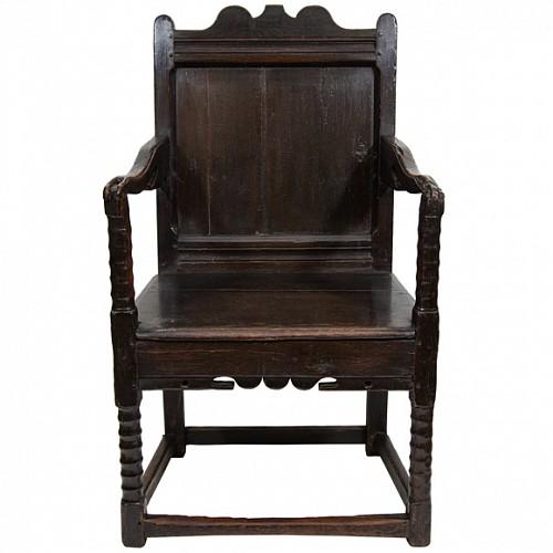 A Charles II Oak Wainscot Armchair, Third Quarter 17th century