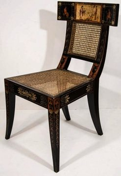 A Polychrome Decorated Klismos Chair in the manner of George Bridport (1738-1819)