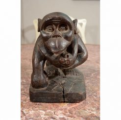 Carved Wood Chimpanzee Sculpture by the Hemba Tribe of the South Eastern Congo Region