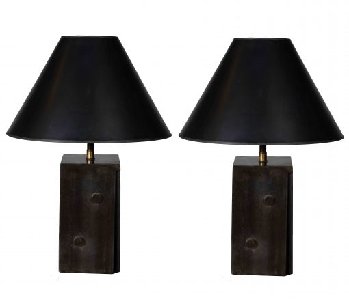 "Pair of Tapering Steel ""Dice"" Lamps"