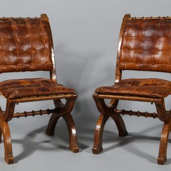 Ordinaire A Pair Of English Oak Folding Chairs In The Style Of A.W.N Pugin, Circa  1860 ...