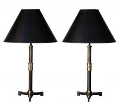 Pair of Steel Table Lamps with Tripod base in Statuary Bronze Finish