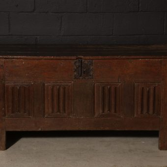 A French Oak LineFold Paneled Coffer, c. 1480