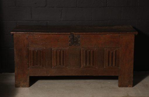 A French Oak Linen-Fold Paneled Coffer, c. 1480
