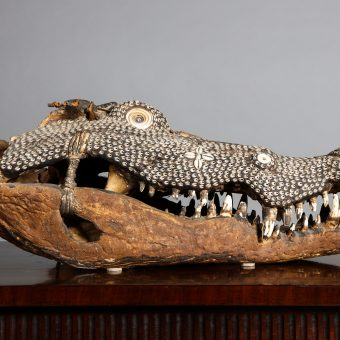 Rare Inlaid Crocodile Head from Papua New Guinea