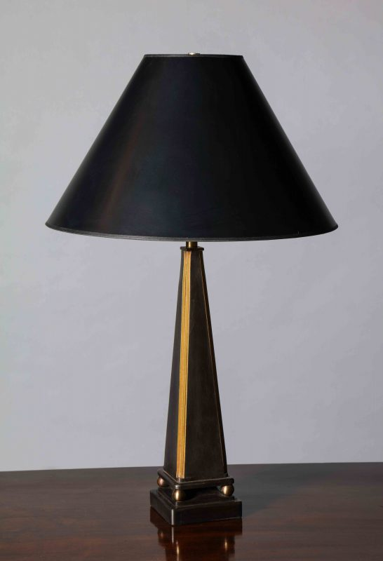 Pair of Pyramid Form Steel Table Lamps, Gold Detail