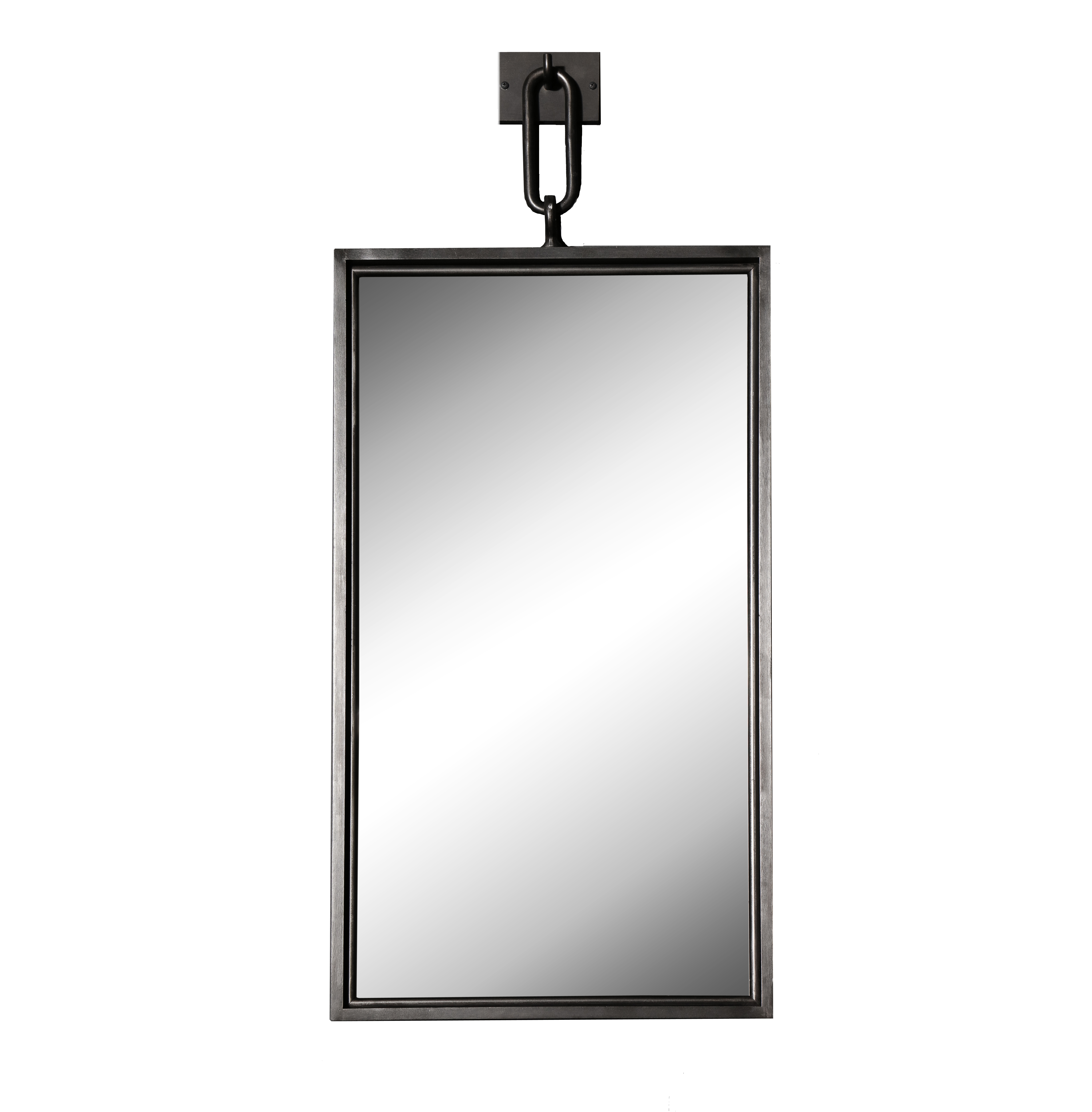 A patinated steel rectangular pendant mirror smaller size burden rectangular mirror aloadofball Gallery