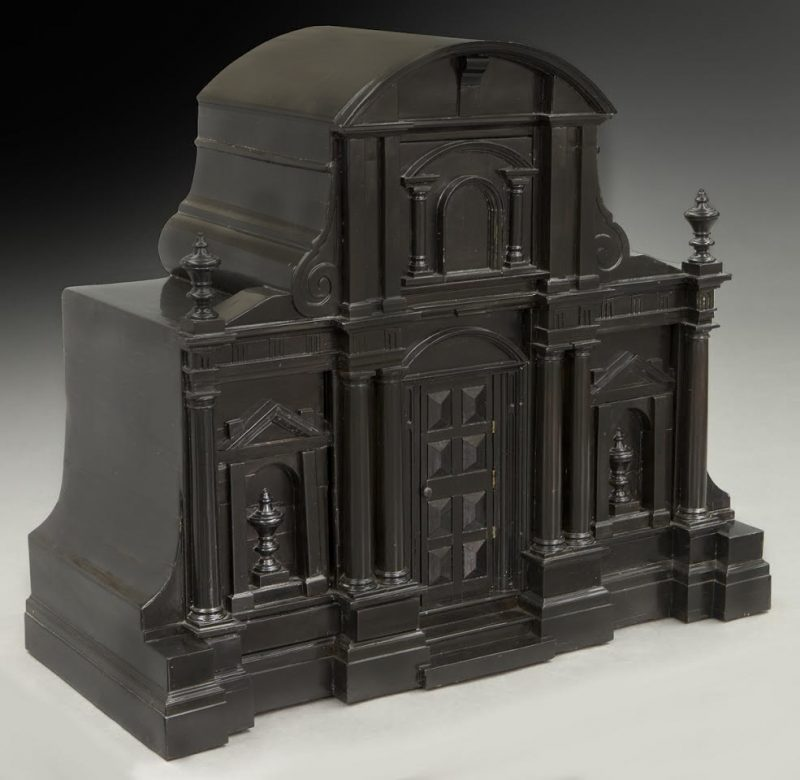 A Continental Ebonized Table Cabinet in the Form of a Baroque Church