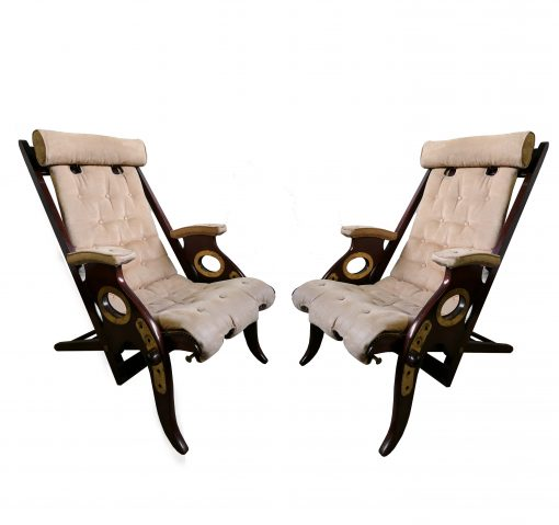 A Pair of Mahogany and Brass Campaign Chairs, Circa 1940