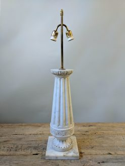 A Pair of Neoclassical Marble Lamps, Circa 1930